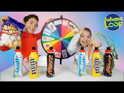 Mystery Wheel of Milkshake Challenge! Milchshake Glücksrad Schwester vs Bruder | Johann Loop