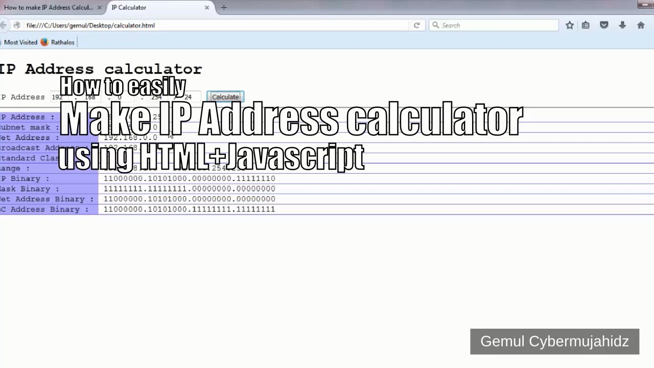 How to easily make IP Address calculator using HTML & Javascript