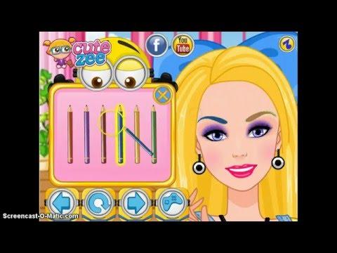 Барби одевается в одежду миньона .Красится ,примряет одежду .игра для детей.Делаем макияж.