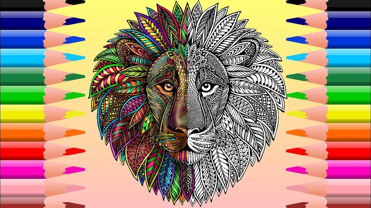 León Mandala Para colorear - Mandala Lion Coloring - YouTube