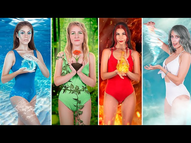 Fire Girl, Water Girl, Air Girl and Earth Girl / Four Elements Party!