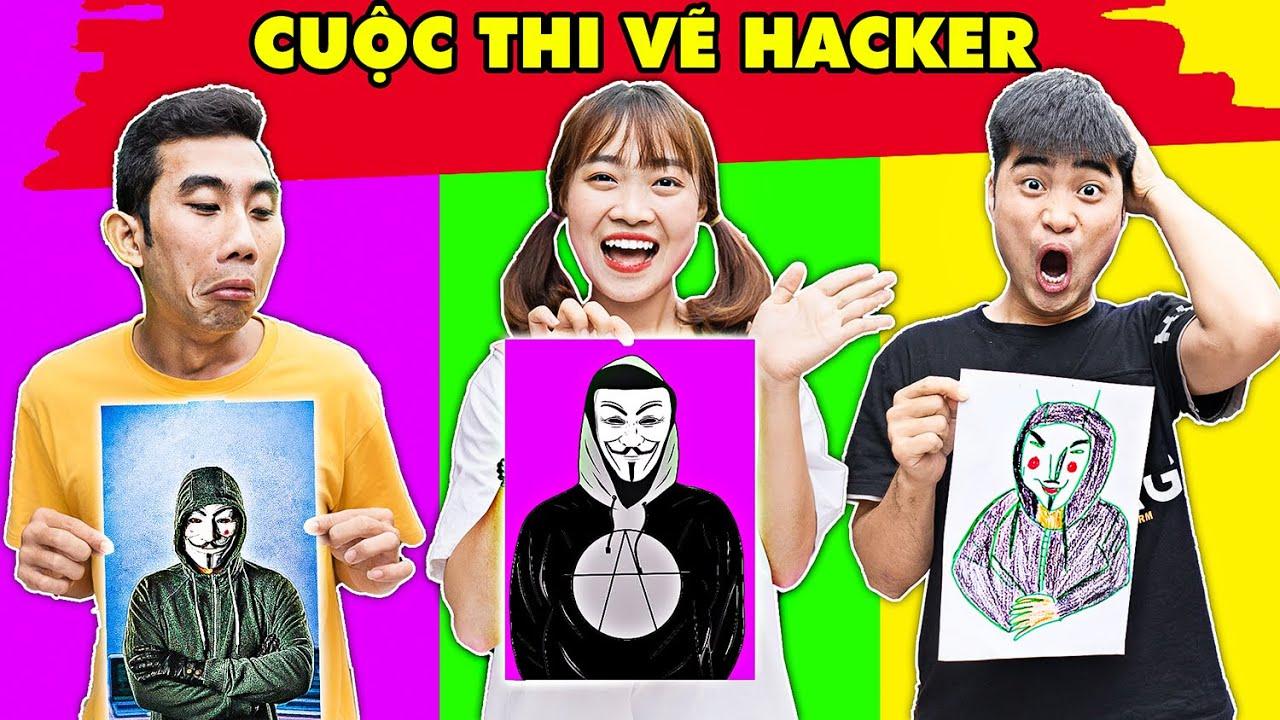 Gấu Đỏ TV – Thử Thách Vẽ Hacker , Vẽ Jungkook Của Nhóm BTS Xem Ai Vẽ Đẹp Nhất Cùng Hà Sam