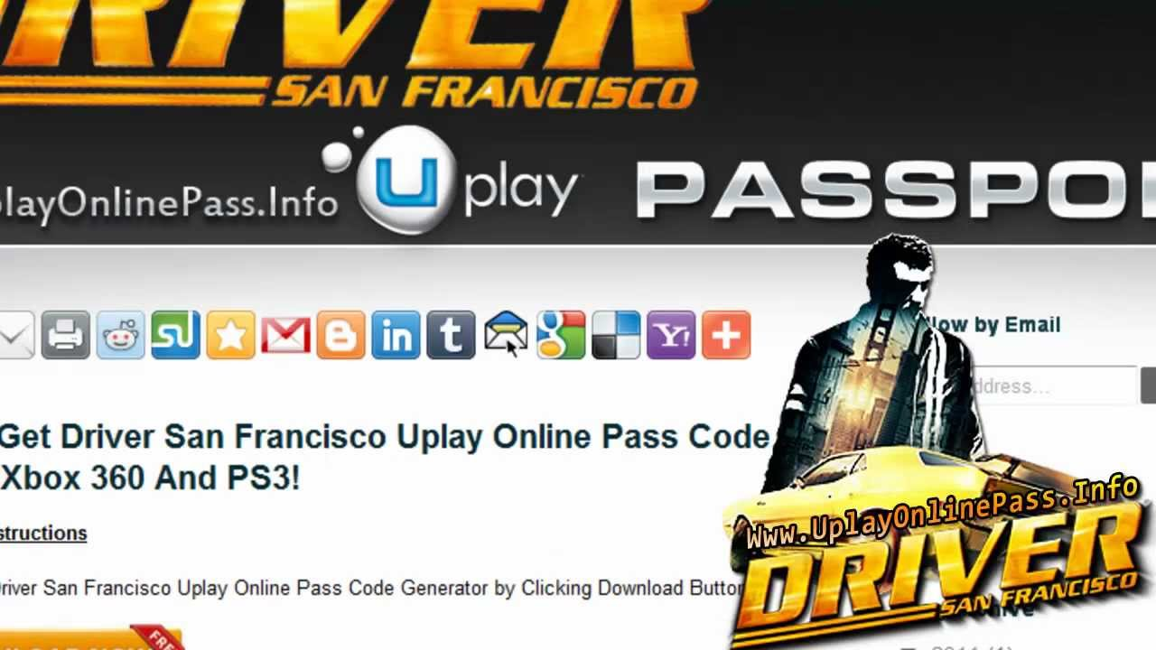 Get Free Driver San Francisco Uplay Online Pass Code  Tutorial