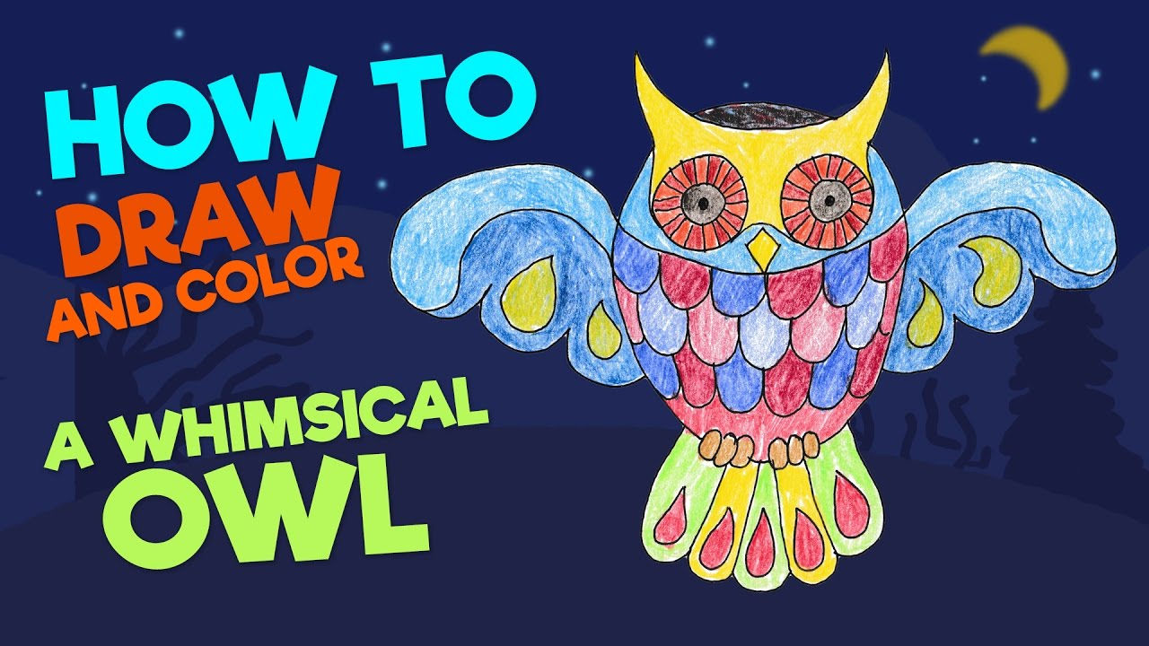 kids drawing u2022 how to draw a whimsical owl u2022 coloring book u2022 with