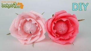 РОЗЫ ИЗ ГОФРИРОВАННОЙ БУМАГИ С КОНФЕТОЙ ☆ DIY paperflower