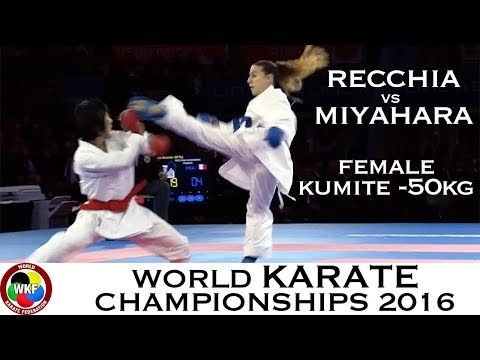 FINAL. Female Kumite -50kg. RECCHIA (FRA) vs MIYAHARA (JPN). 2016 World Karate Championships