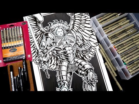 DRAWING WARHAMMER 40000!  And SAKURA PIGMA MICRON UNBOXING!
