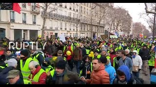 live yellow vest protests hit paris for the tenth week in a row