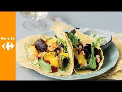 tacos-aux-crevettes,-mangue-et-vinaigrette-à-l'avocat