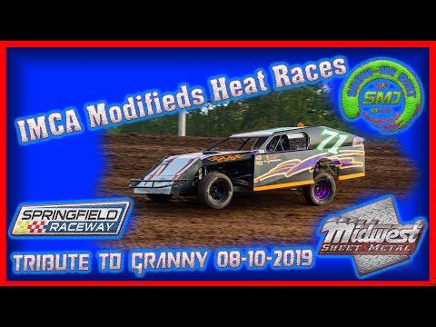 SO3-E393 IMCA Modifieds Heat Races - Tribute to Granny Springfield Raceway 08-10-2019 #DirtTrack