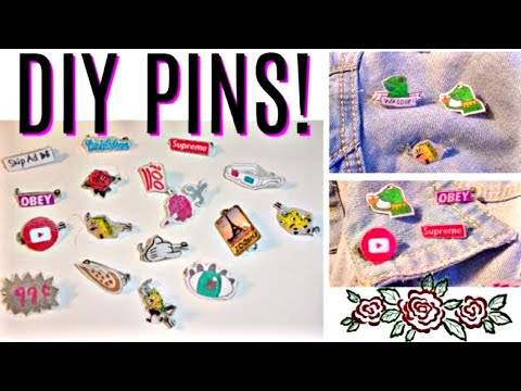 5+ Easy Ways to DIY Pins Without Shrinking Paper!| 100 Pin Challenge! Tumblr, Disney,& more-Reupload