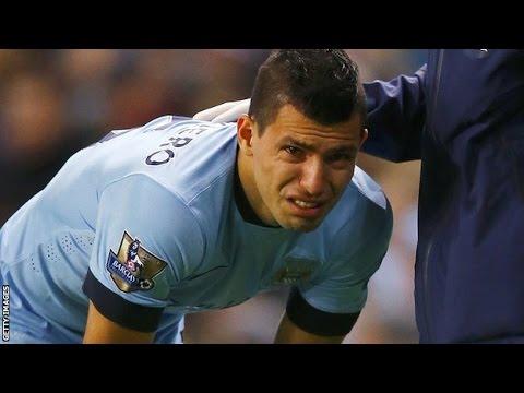 Sergio Aguero Injured Man City striker leaves pitch in tears