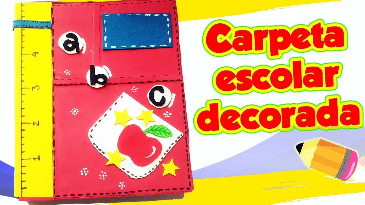 Carpeta Escolar Decorada Diy Manualidades