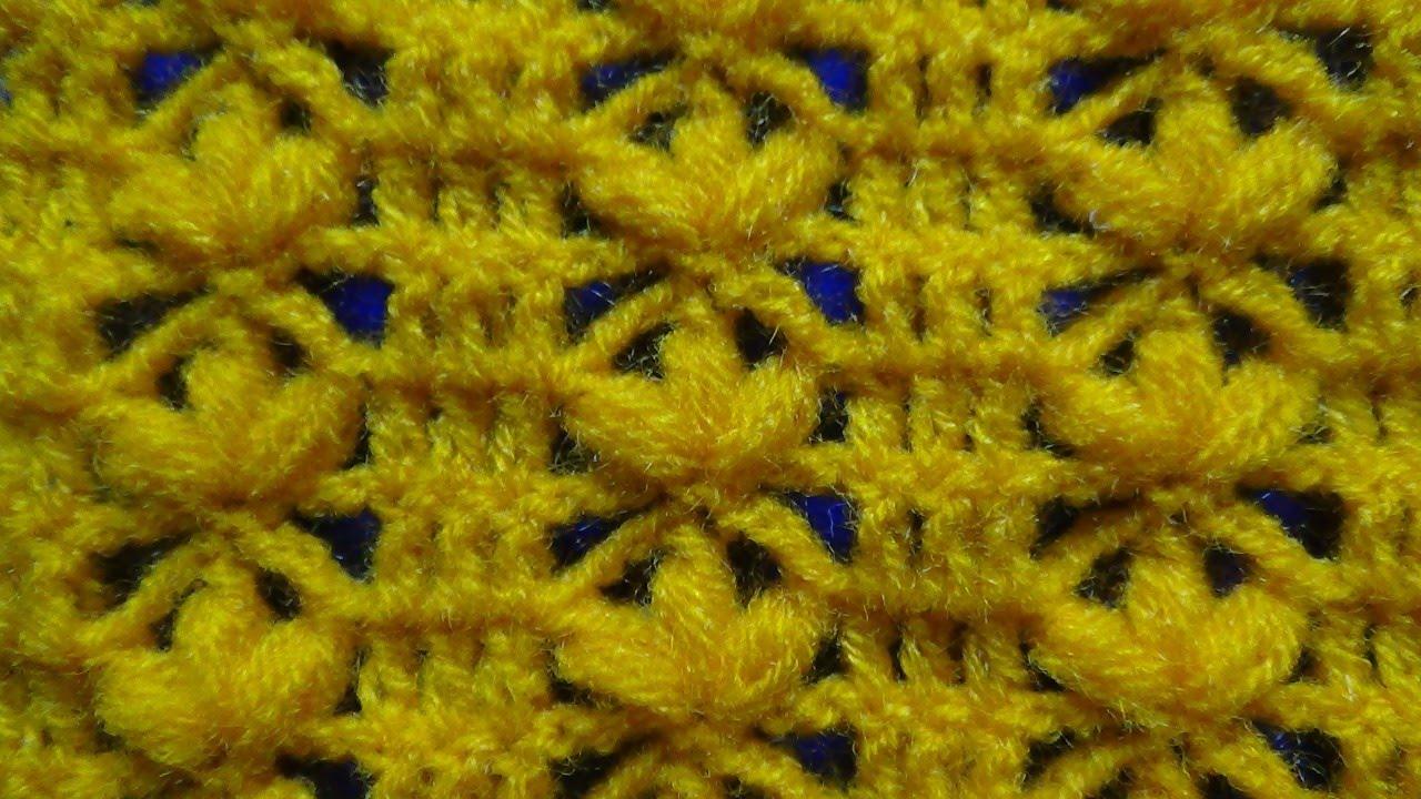 Punto a crochet FLORES en punto garbanzo paso a paso para chalecos y ...