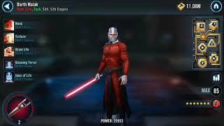 Rebels defeat reliced Malak Sith Empire 334 Darth Revan SWGOH Squad Arena