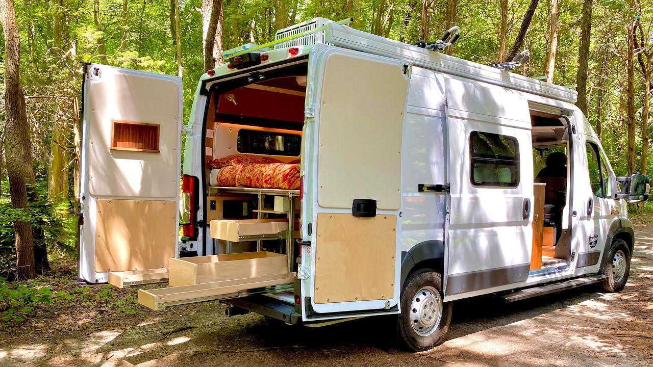 CAMPER VAN TOUR | OCD Master Builder Converts Plain Cargo Van into Amazing Masterpiece