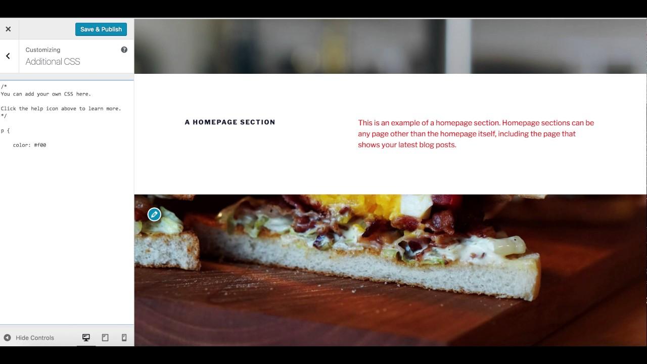 WordPress Twenty Seventeen Theme - Custom CSS - YouTube