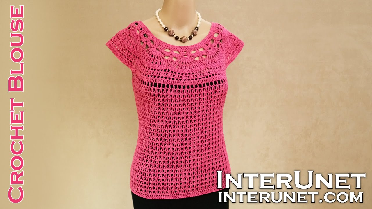 Lace Summer Top Pink Camellia Blouse Crochet Pattern With Spanish