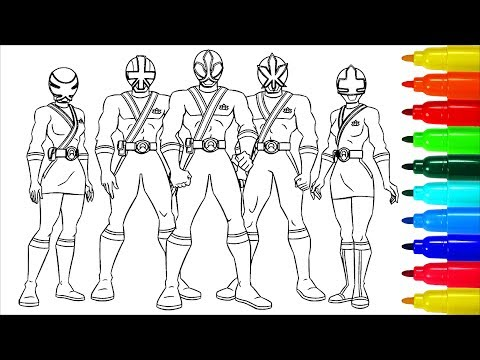 Power Rangers Samurai Coloring Pages  Colouring Pages for Kids with Colored Markers