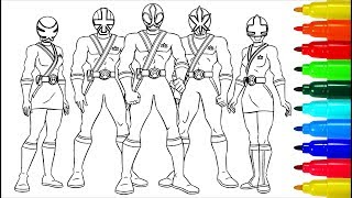 Power Rangers Samurai Coloring Pages | Colouring Pages for Kids with Colored Markers