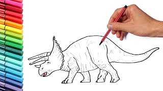 Color pages for Kids Dinosaurs - Learning Color and Drawing With Triceratops Dinosaur