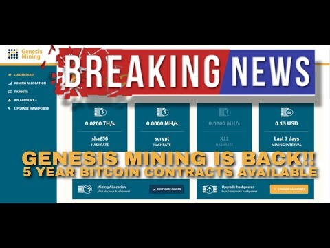 Genesis mining | cloud mining contracts are back