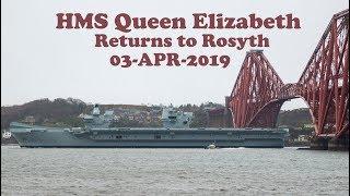 HMS Queen Elizabeth Aircraft Carrier under Forth Bridges to Rosyth [4K/UHD]
