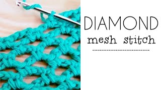 How to crochet DIAMOND MESH stitch / DIAMOND LACE ♥ CROCHET LOVERS