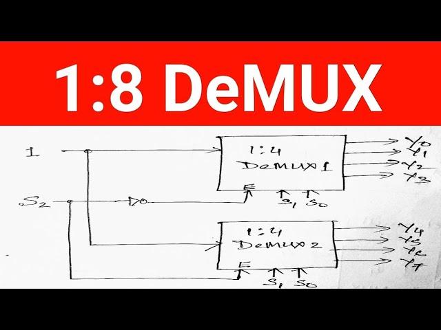 1*8 Demultiplexer design using two 1*4 Demultiplexer - YouTube   Logic Diagram Of 1 To 8 Demultiplexer      YouTube