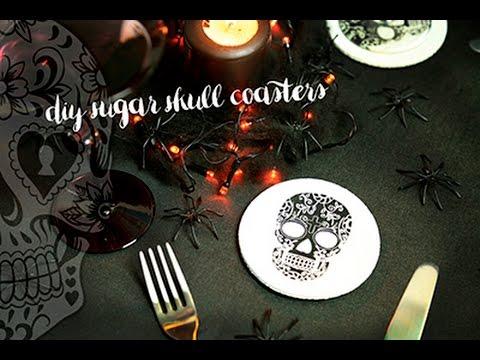 DIY sugar skull coasters