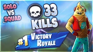 33 KILLS SOLO vs SQUAD | Fortnite Battle Royale