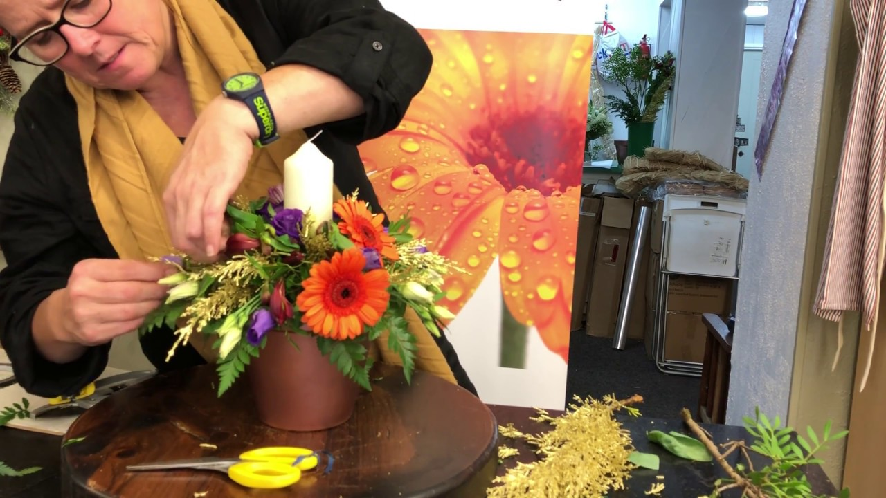 Autumn Flower Arranging Course 2018 Diwali Arrangement Booker Flowers And Gifts Liverpool Youtube