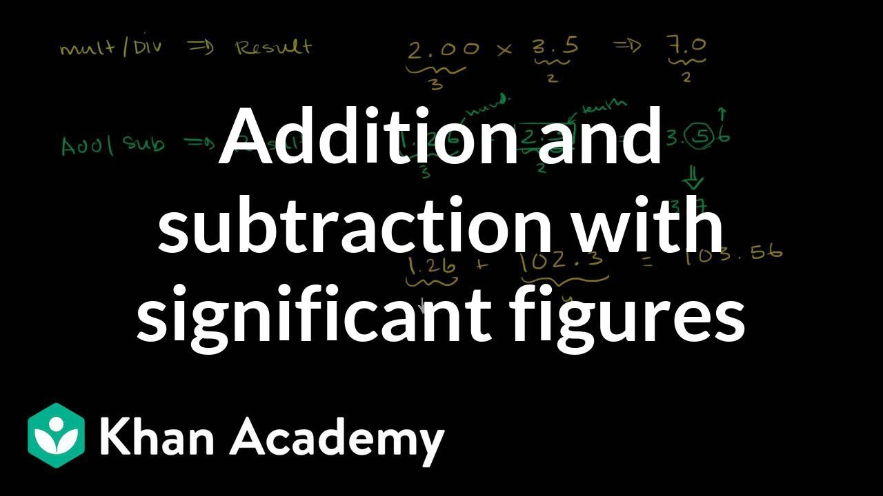 Addition And Subtraction With Significant Figures Decimals Pre