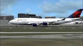 Delta Air Lines 747-400 flight to Tokyo (FS2004)
