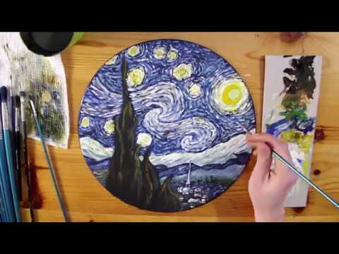 Painting Starry Night By Vincent Van Gogh On Vinyl Record