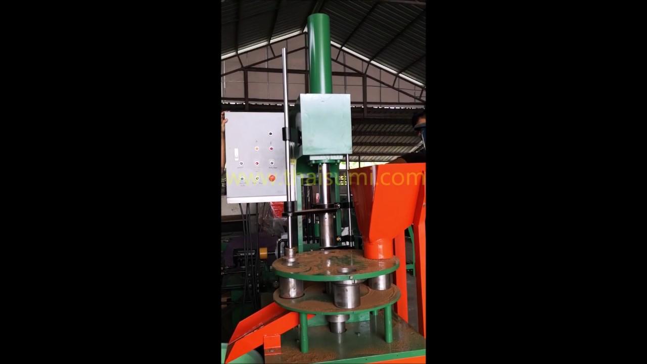 Coconut husk fiber - briquette press - Hydraulic machine video - Thai Sumi  Company THAILAND