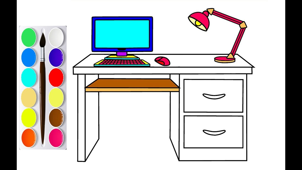 How to Draw Kids Computer Desk With Lamp Coloring Pages | Learn to ...