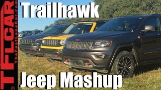 2017 Jeep Renegade  vs Cherokee vs Grand Cherokee Trailhawk Off-Road Mashup Review