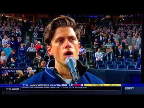 EMOTIONAL US National Anthem - NY Yankees v. Minn. Twins -10/3/17