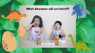 We tried some yummy orange juice with a surprise dinosaur egg! 恐竜のオモチャ付きのオレンジジュースを飲んだよ~! What dinosaurs will we hatch? どんな恐竜 ...