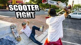 SCOOTER RIDER FIGHTS SKATEBOARDER AND WINS