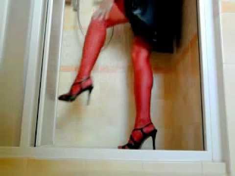 Wetlook - red stockings and corset, heels