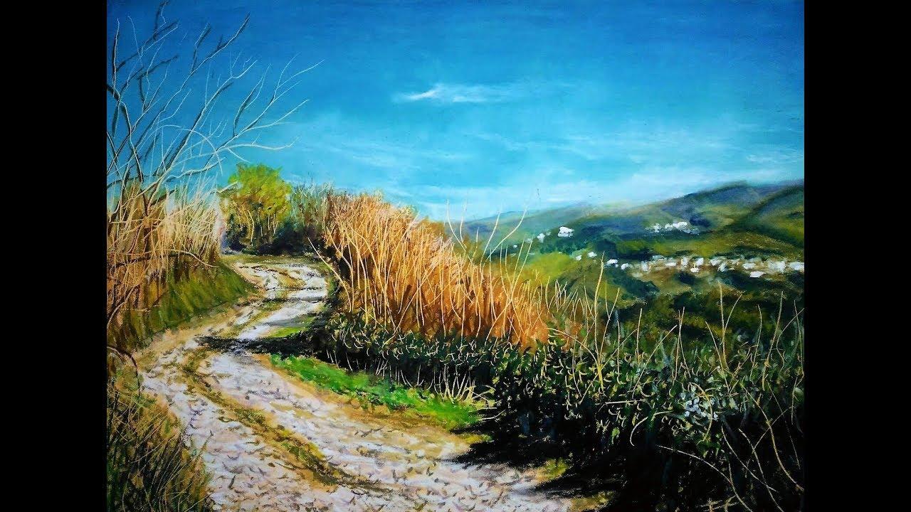 Paesaggio Tecnica Pastelli Olio Landscape Oil Pastels Youtube