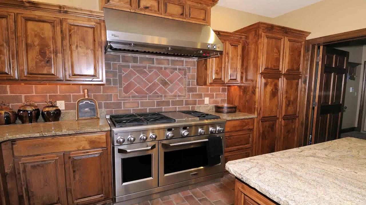 Cherry Kitchen Cabinets With White Subway Tile Backsplash Youtube