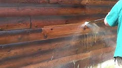 Removing Old Finishes - Pressure Washing Log Walls by Northwest Log Home Care