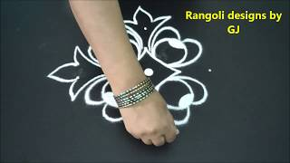 Simple Rangoli Design with 5X1 Dots   Rangoli Designs   Kolam Designs   Muggulu   Color kolam