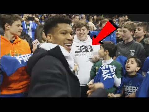 Giannis Antetokounmpo GAVE A Kid His Hoodie To Cover Up His BIG BALLER BRAND SHIRT