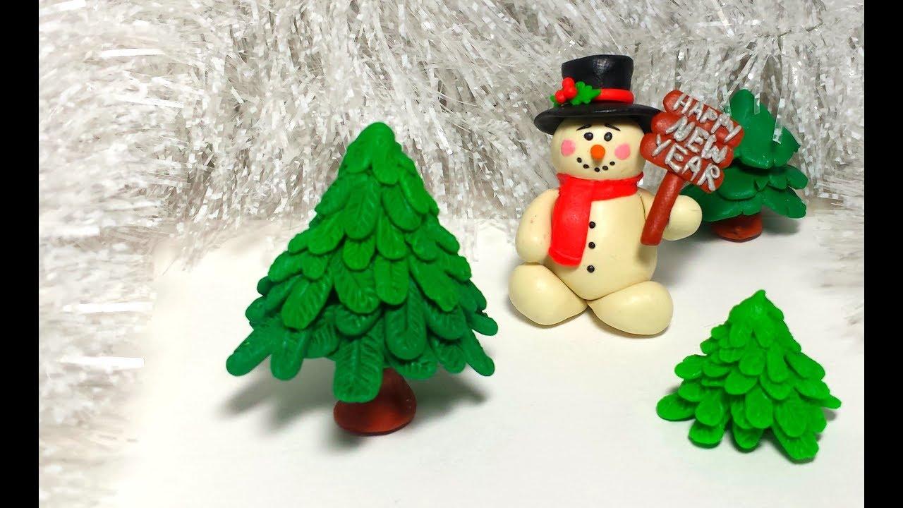 Ёлка Christmas tree DIY как слепить ёлку из пластилина