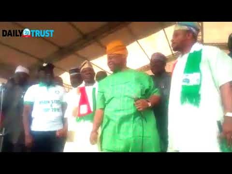 Sen Adeleke dances as APC chief defects to PDP