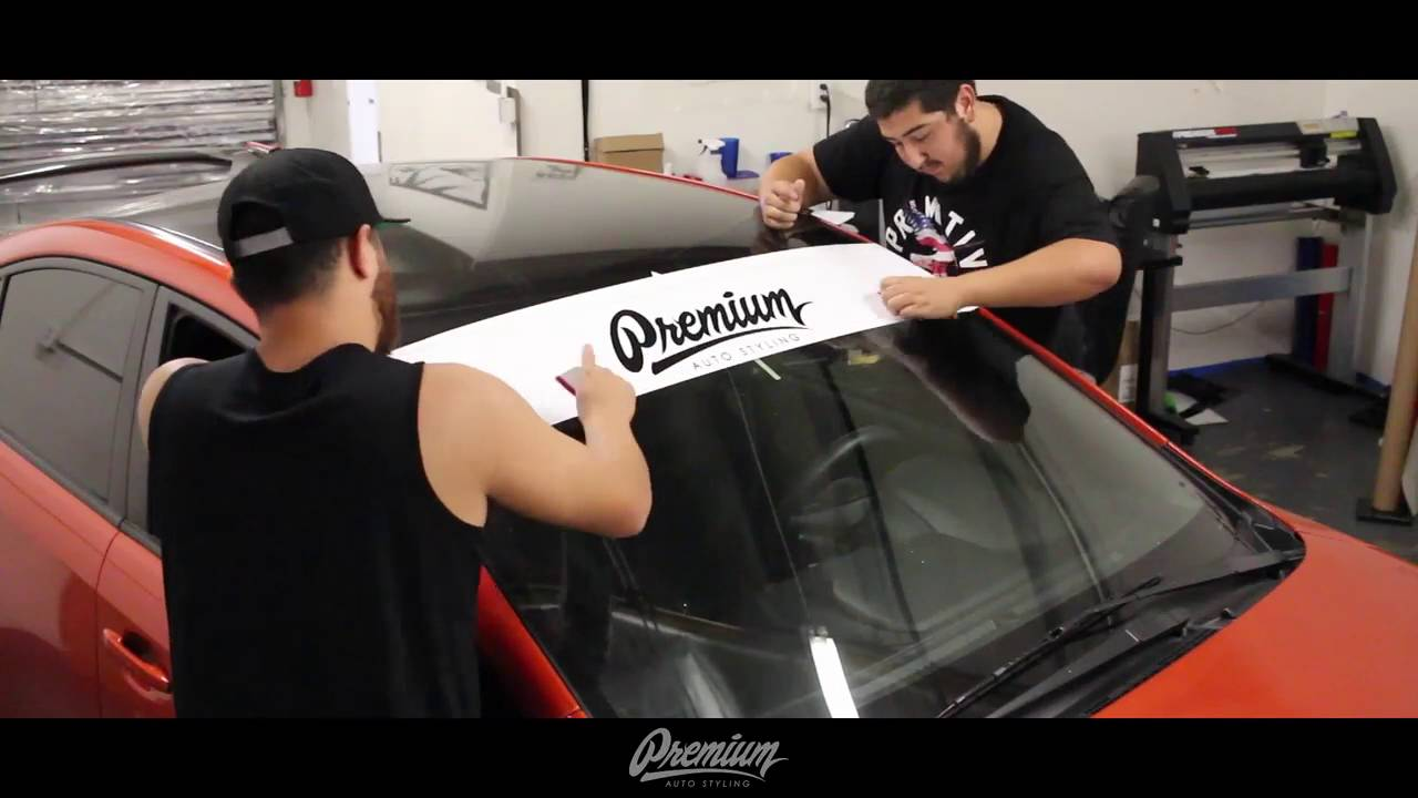 How to install car windshield banner vinyl